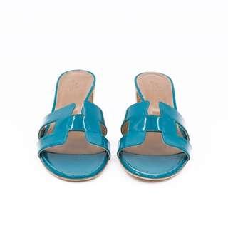 (NEW) HERMES SANDALS OASIS PATENT 39 HEELS 全新 高跟鞋 藍色