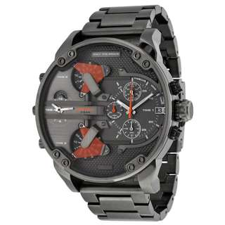 THE DADDIES CHRONOGRAPH FOUR TIME ZONE DIAL GUNMETAL ION-PLATED MEN'S WATCH DZ7315