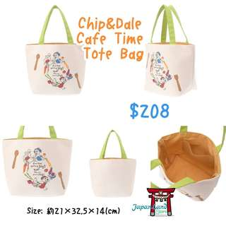 🇯🇵️️日本Disney Store - Chip&Dale Cafe Time Tote Bag