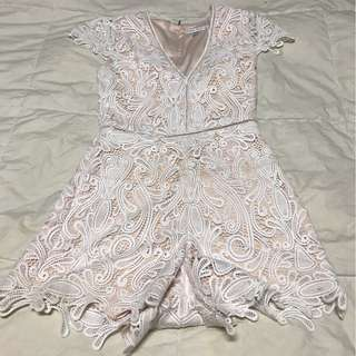 Forever New White Nude Lace Playsuit