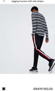 Jogging trousers with stripes side (red and white)