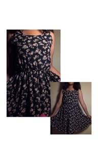 Floral Dress (Navy Blue)