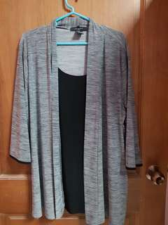 Grey Cardigan with Inner Singlet