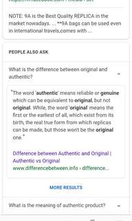 Difference between AUTHENTIC & ORIGINAL