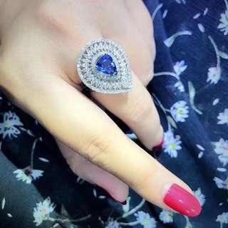 18k藍寶石2.44ct鑽石1.76ct戒指