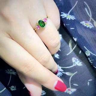 18k粉藍寶石0.57ct鑽石0.15ct戒指