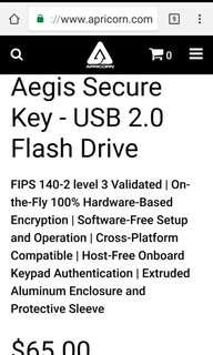 Aegis Secure hardware Encryption USB 2.0 16GB Thumb