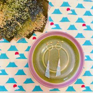 🚚 現貨 日系彩虹小馬粉藍巧拼垂墜式耳環