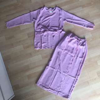 Kids Scallop Baju Kurung Light Purple
