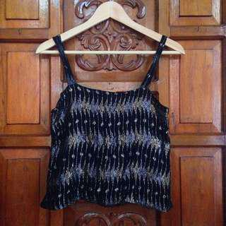 Brand New Black Gold and Silver Sexy Sleeveless Cropped Top
