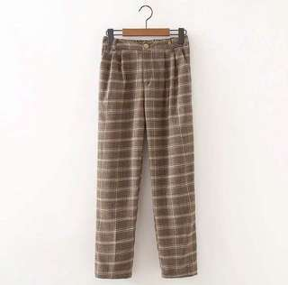 Brand New Vintage Inspired Plaid Pattern Pants in KHAKI*