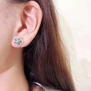 18k沙佛萊0.10ct鑽石0.36ct耳釘
