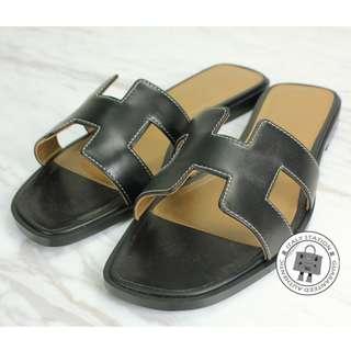 全新 愛瑪仕黑色 涼鞋 拖鞋 37號