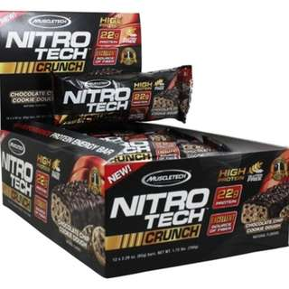 MUSCLETECH NITROTECH CRUNCH BAR 65g x 12 bar nitrotech bar