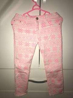 Tribal neon pink pants