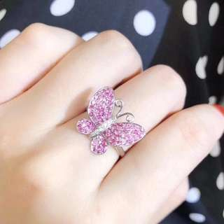 18k粉藍寶石0.90ct鑽石0.04ct戒指