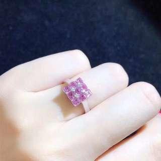 18k紅藍寶石1.6g鑽石0.04ct戒指