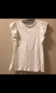 🚚 UNIQULO 出清🙌🏻 日系韓風 百搭實穿白色荷葉邊t恤純棉舒適