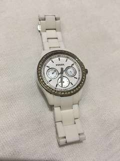 Fossil Wrist Watch With White Bracelet and Gemstones