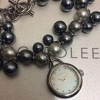 Carolee New York Glass Pearl Charms Bracelet  Watch 美國卡洛琳灰黑珍珠手錶手鍊