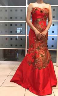 Red wedding gown with gold dragon phoenix embroidery