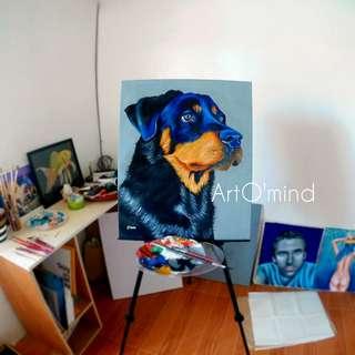 'Man's bestfriend' Acrylic Painting 50cm x 60cm