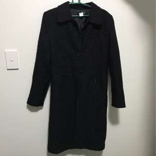 Size 8 black Long trench coat winter jacket shoulder pads