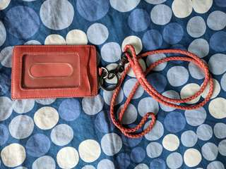 Bottega Veneta woven leather lanyard ID holder