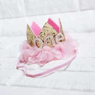 🚚 Instock - 1st Chiffon Flower Headband, baby infant toddler kid