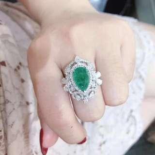 18k祖母綠2.9ct鑽石1.66ct戒指