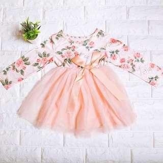 🚚 Instock - Pink Floral Tutu Dress, baby infant toddler kid