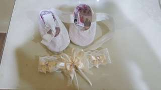 Aqiqah set (dress, headband and shoes)