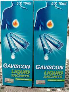Gaviscon liquid sachets (peppermint flavour) x2 boxes $10 expired on 03/2019