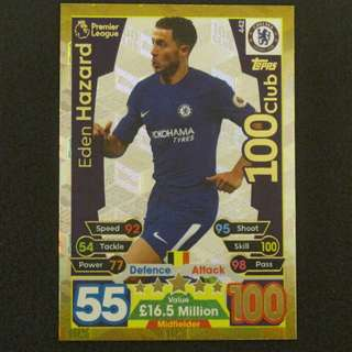17/18 Match Attax 100 Club - Eden HAZARD #Chelsea