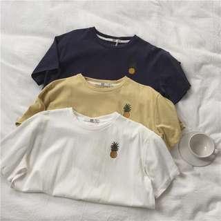 🍍鳳梨簡約刺繡短袖T恤 素面T恤 素色T恤 基本款