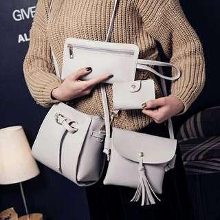 4 in 1 bags SET Sling Bag Card Holder Purse Wallet Travel Tote