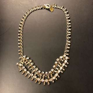 Venna metal with crystal layer necklace