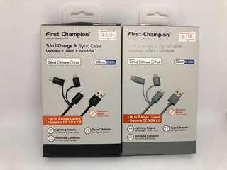 [🇭🇰行貨] First Champion 鋁合金尼龍編織 3合1 microUSB / Lightning / Type C 充電傳輸線