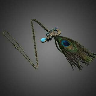 Peacock Feathers Pendant Long Chain Necklace