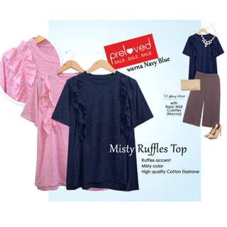 Misty Ruffles Top kaos misty rumbai NAVY BLUE