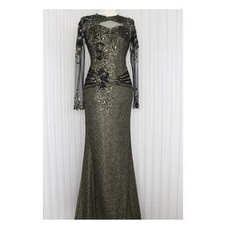 Long dress /Evening gown /gaun pesta warna hitam kode 7003Limited Edition !