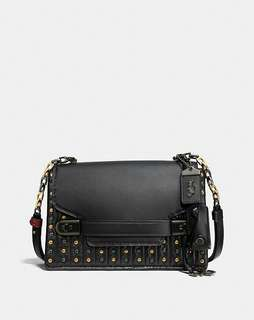 Coach Swagger Chain Crossbody With Quilting/Rivets Black/Black Copper