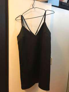 Black Satin Slip Dress with Criss-Cross Back