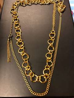 Italy gold layer long necklace