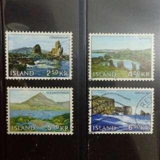 [lapyip1230] 冰島共和國 1967年 國土風貌 舊票全套 Set VFU