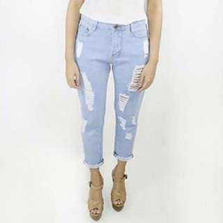 Ladies' Washed Light Blue Ripped Denim Jeans Pants