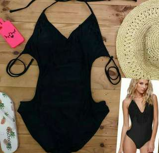 Black backless swimwear