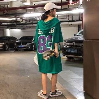 🚚 【貝莉潮流】中長款T恤🔥網紅同款衣服夏裝2018新款韓版下身失蹤上衣連帽中長款短袖T恤