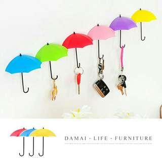全新創意雨傘造型掛勾 六入一組 置物架 置物盒 牆壁掛鈎 鑰匙 辦公室小物 免釘掛勾 裝飾掛勾