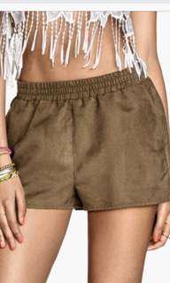 H&M Coachella suede brown shorts